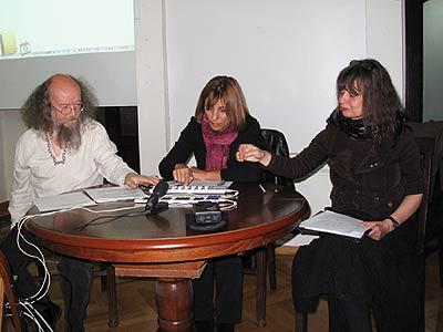 Sergey Letov, Mirjana Peitler-Selakov and Sabine Hänsgen in  Belgrade University Library